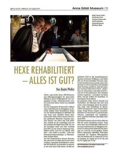 HEXE REHABILITIERT – ALLES IST GUT? / Bericht Glarner Woche vom 23.08.2017