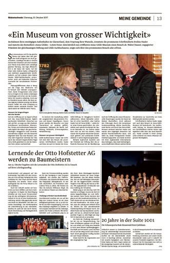 «Ein Museum von grosser Wichtigkeit» Bericht SO, 31.10.2017