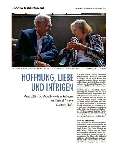 HOFFNUNG, LIEBE UND INTRIGEN / Bericht Anna Göldi Musical - Glarner Woche Seite 2
