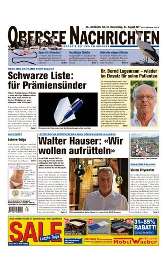 «Wir wollen aufrütteln»   / Obersee Nachrichten 24.08.2017 - Seite 1