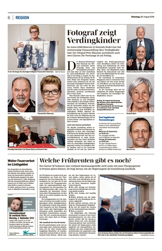 Verdingkinder Bericht Südostschweiz / 28.8.2018
