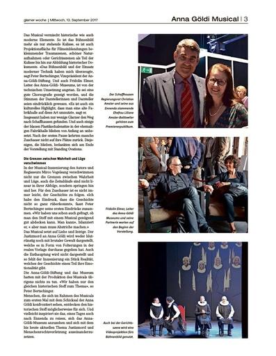 HOFFNUNG, LIEBE UND INTRIGEN / Bericht Anna Göldi Musical - Glarner Woche Seite 3