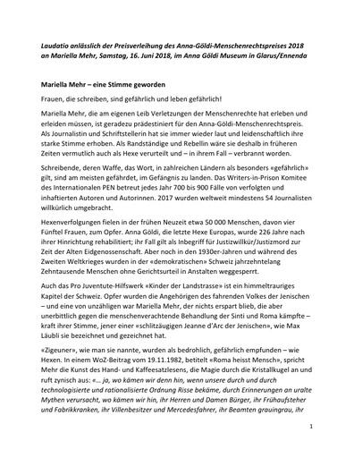 Mariella Mehr Laudatio zur Verleihung des Anna Göldi Menschenrechtspreises 2018 in Glarus