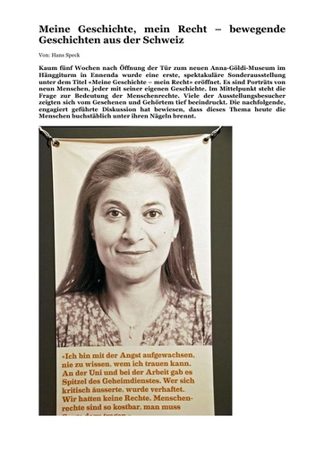 Meine Geschichte mein Recht - bewegende Geschichten aus der Schweiz